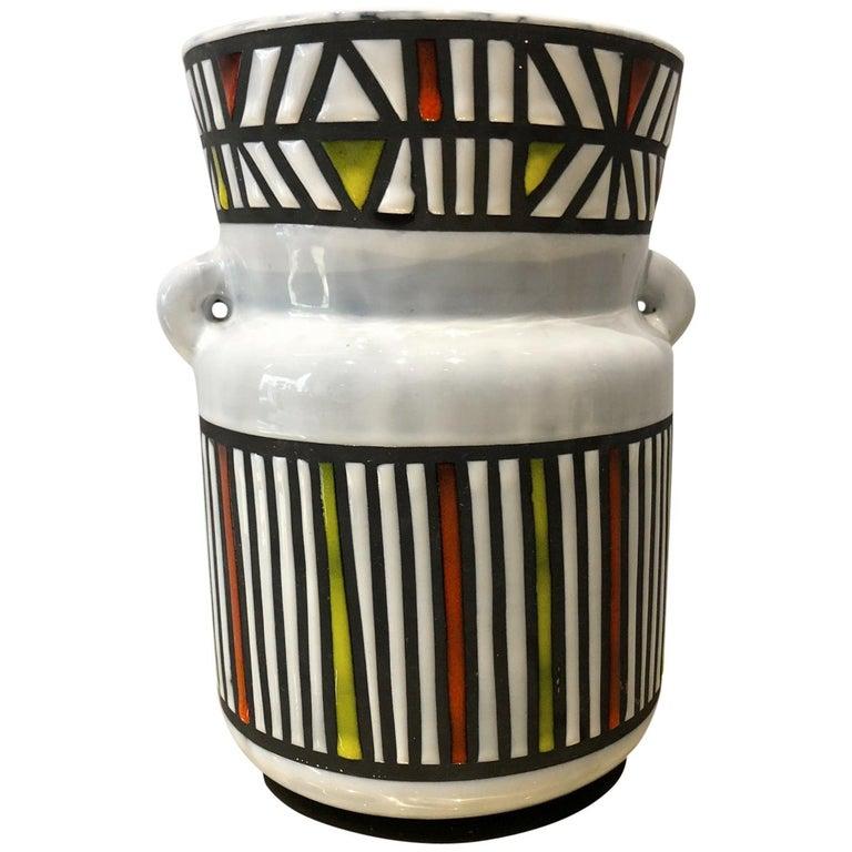 Geometric Design Ceramic Vase Signed Roger Capron Vallauris, 1950s