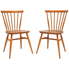 1960s Pair of Solid Elm Vintage Ercol Dining or Side Chairs