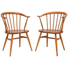 1960s Pair of Vintage Cowhorn Armchairs by Ercol