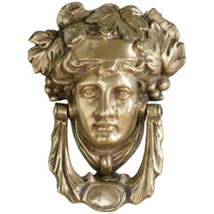Early 20th Century Brass Female Mask Knocker