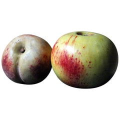 Pair of Early 20th Century Italian Carved Marble Faux Fruits as an Apple & Peach