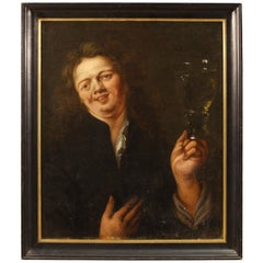18th Century Oil on Canvas Flemish the Drunkard Character Painting, 1780