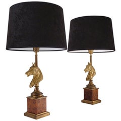 Maison Charles Horse Lamps Pair of Brass & Burl Walnut, circa 1970s, French