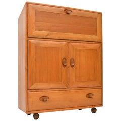 1970s Vintage Ercol Solid Elm Bureau Cabinet