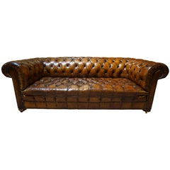 20th Century Leather Buttoned Chesterfield