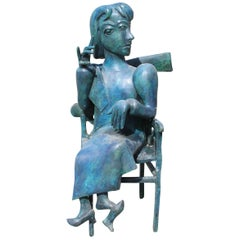 1990s Lady Sitting on a Chair Bronze Abstract Sculpture