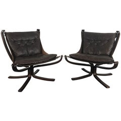 Pair of Vintage Low Back Leather Falcon Chairs Designed by Sigurd Resell