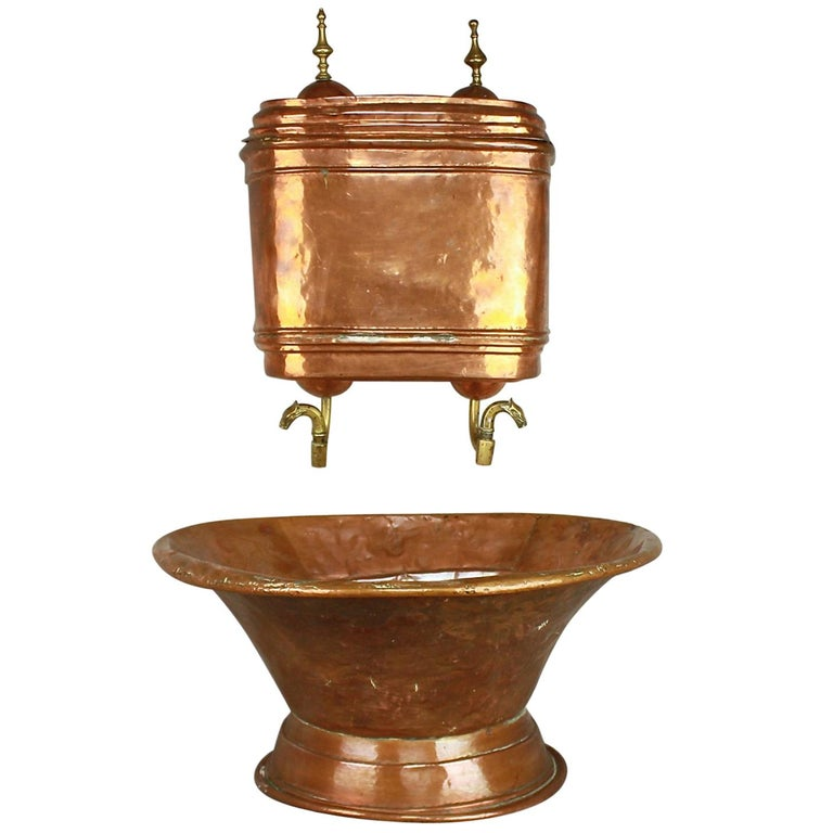 18th Century French Copper Repoussé Wall Fountain Lavabo