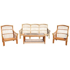 1980s Bamboo Garden Furniture Set