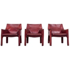 Cassina Cab 414 Vintage Leather Armchair Set Red by Mario Belinni 1970-1979