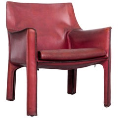 Cassina Cab 414 Vintage Leather Armchair Red by Mario Belinni 1970-1979