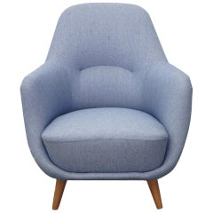 Lounge Chair in Neutral Fabric of the 1950s