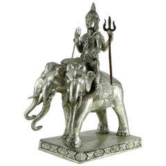 God Indra on Airavata in Silvered Bronze, Thailand, 1930s-1950s