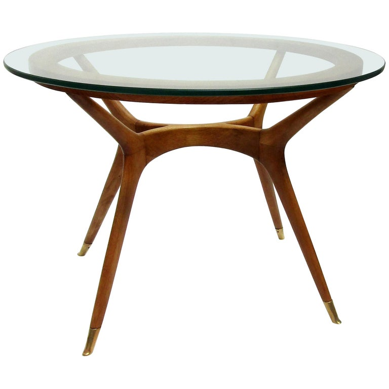 Italian Wood and Glass Side Table