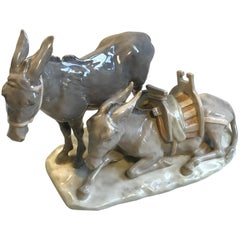 Royal Copenhagen Figurine Two Donkeys No 1486