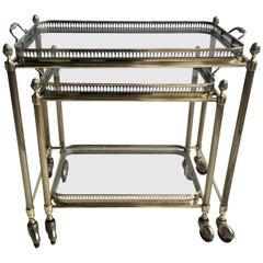 Lovely Nest of Vintage Brass Tables or Trolleys