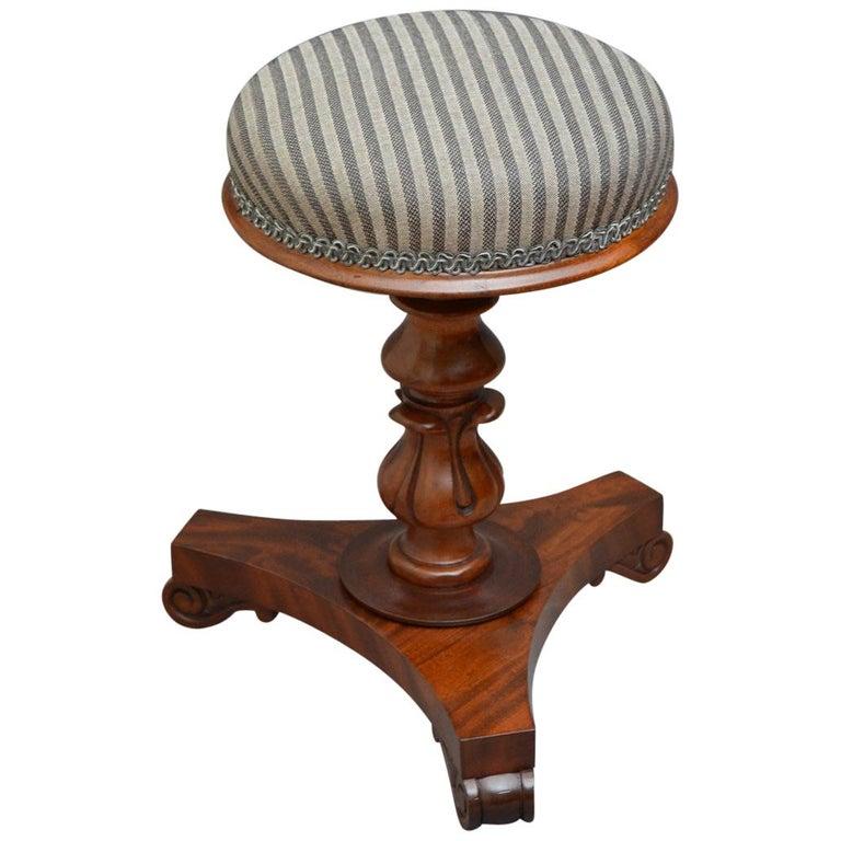 Early Victorian Mahogany Piano Stool