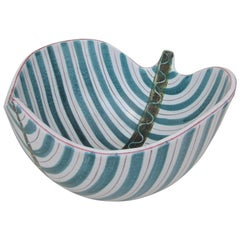 Large Stig Lindberg Faience 'Leaf' Bowl