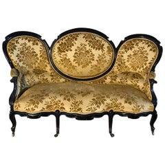 19th Century English Victorian Three-Seat Black Sofa with Brocade Fabric