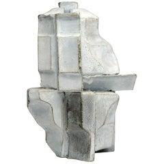 Vintage Abstract Modern White Bronze Sculpture