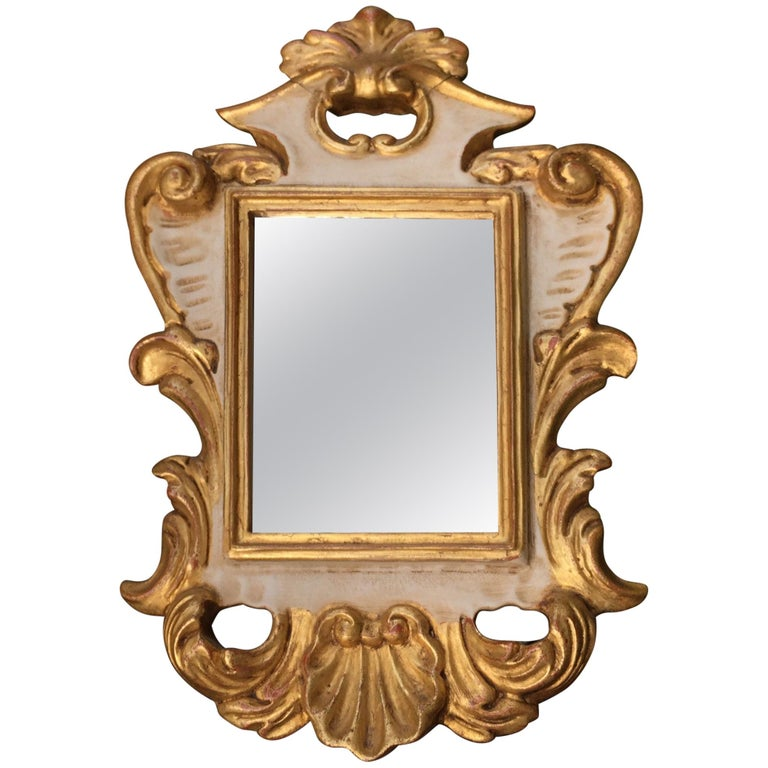 20th Century Italian Small Mirror Carved Giltwood and Ivory Painted