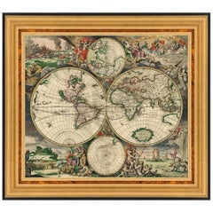 New Hemispherical Map of the World, After Baroque Engraving