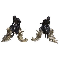 Pair of French Bronze and Brass Mythological Figural Floral Chenets, circa 1820