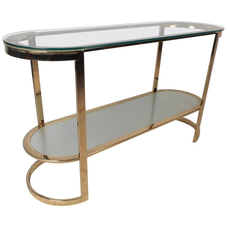 Brass Mid-Century Modern Two-Tier Console Table