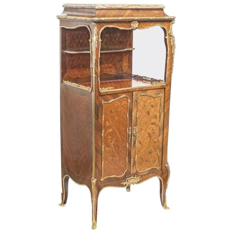 Louis XV Style Ormolu Tulipwood Music Cabinet by Linke
