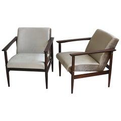 Vintage Set of Armchairs in Beige Velvet from 1970s
