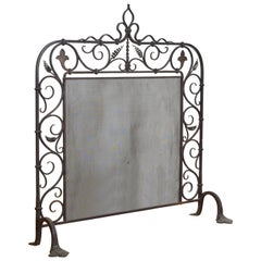French Baroque Revival Wrought Iron Fire Screen Last Quarter of the 19th Century