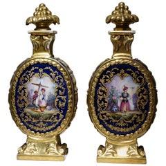 Pair of Porcelain Bottles, France, circa 1850