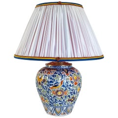 19th Century Polychrome Delft Faience Vase Converted in Table Lamp