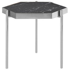 Kandinsky, Contemporary Hexagonal Side Table in Marble with Stainless Steel Base