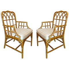 McGuire Bent Rattan Armchairs with Wrapped Rawhide, Three Pairs Available