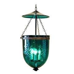 Foilate-Etched Ten-Inch Bell Jar Lantern, England, circa 1830