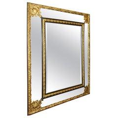 Large Repousse Gilt Metal Mirror