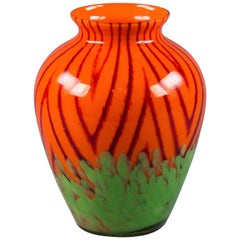 Bohemian Internally Decorated Glass Vase, circa 1930