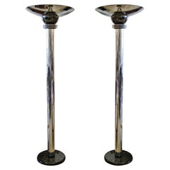 American Art Deco Polished Nickel, Gunmetal and Marble Torcheres, Donald Deskey