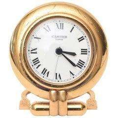 Vintage Cartier 24 Karat Gold Plated Travel Quartz Desk Clock/ Desk Accessory