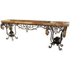 Fantastic 1920s Forged Iron and Marble Console Table from France