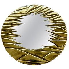 French Brass Artisanal Mirror by Alain Chevert