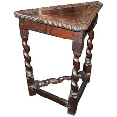 Small Carved Oak Antique Corner Table