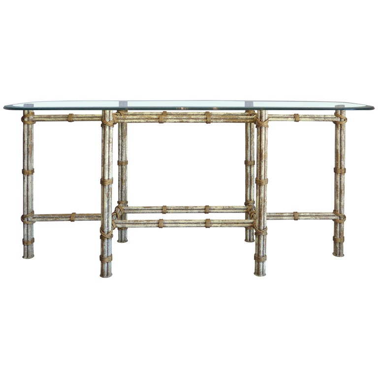 Painted Metal McGuire Style Console with an Intentionally Distressed Finish