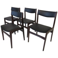Danish Rosewood Upholstered Dining Chairs in the Style of Erik Buck