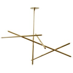 Pick Up Stick Chandelier 5 Stick Vertical by Billy Cotton in Brushed Brass