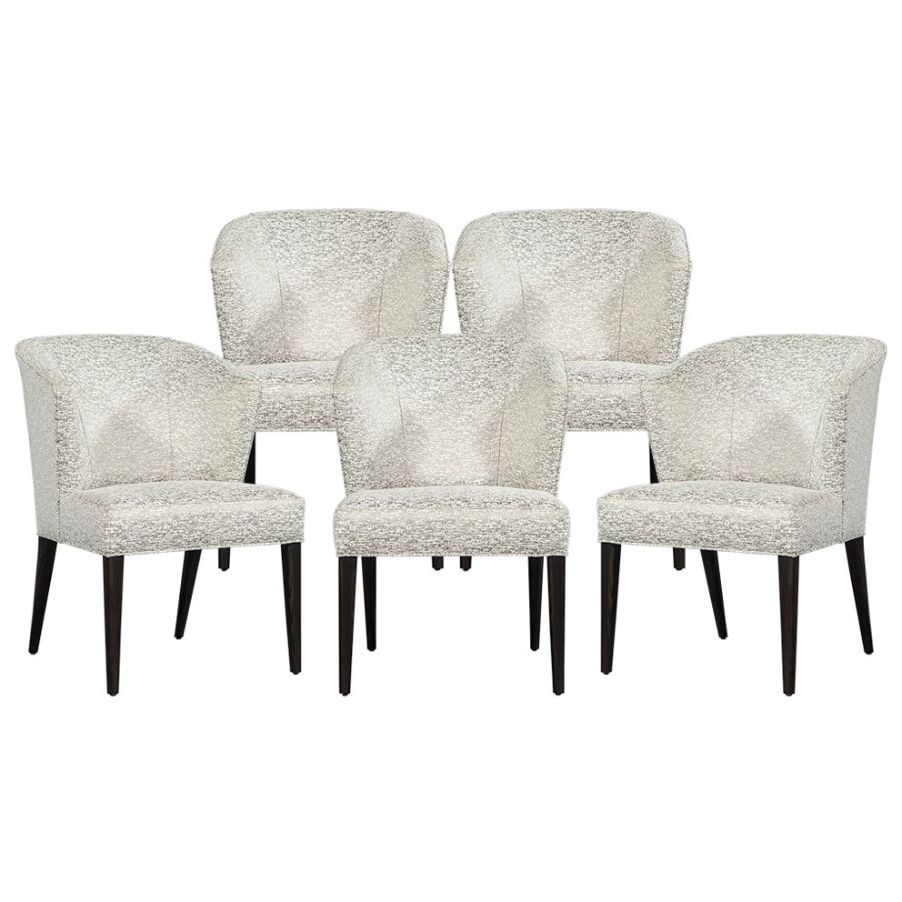 Set of Five Custom Curved Back Modern Dining Chairs by Carrocel