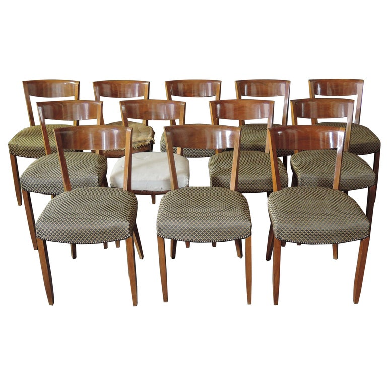 Set of 12 Fine French Art Deco Walnut Dining Chairs by Jules Leleu For Sale