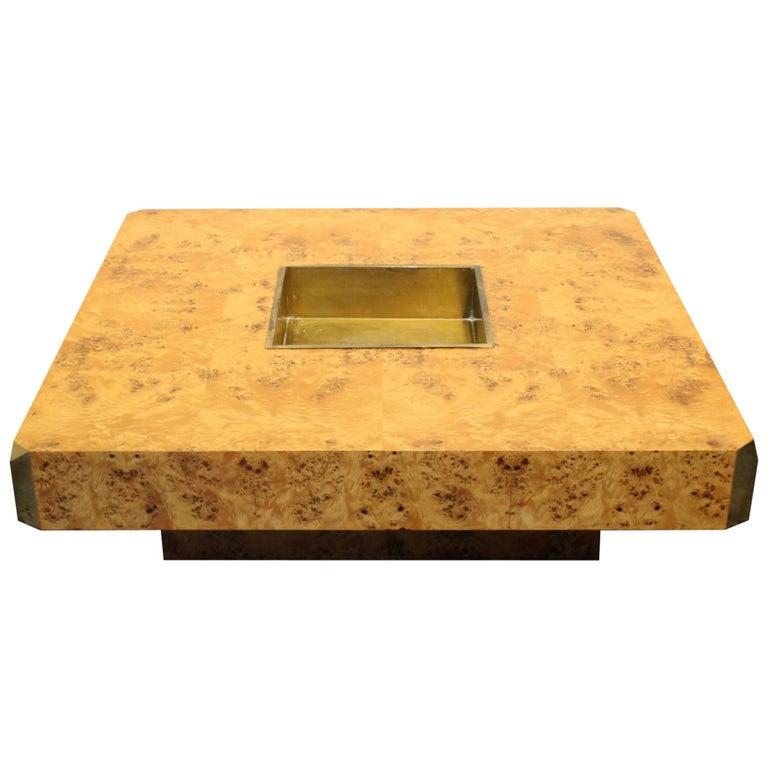 1970s Italian Willy Rizzo Burl Wood and Brass Coffee Table