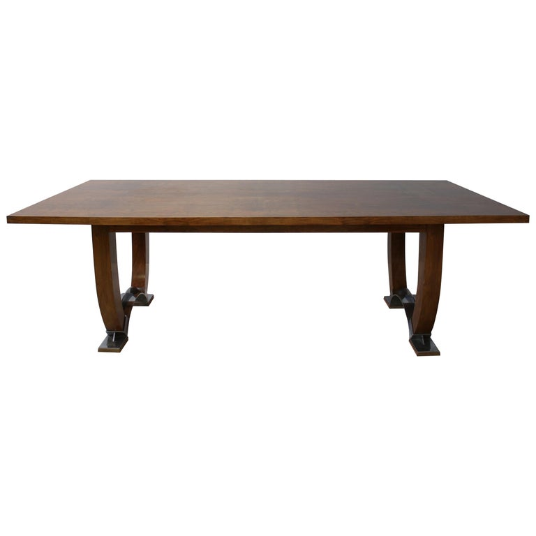 Large Fine French Art Deco Walnut Dining Table by Leleu